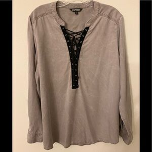 Express Long Sleeve Lace Up Blouse - Size XL